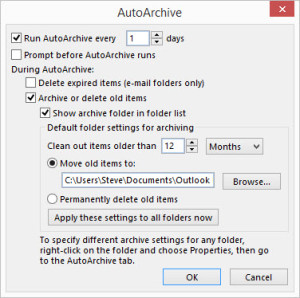 Outlook Auto Archive – Default Auto Archive Settings